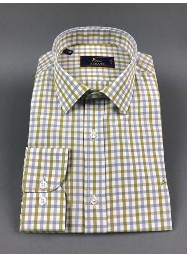 Abbate Kolay Ütülenır Klasık Yaka Slımfıt Ekose Gömlek Haki